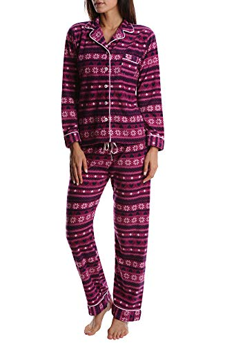 Nomad Women's Fleece Sleepwear Set - Long Sleeve Sleep Shirt & Ladies Pajama Pants - Cranberry Fairisle, 2X (Pants Shirt Pajamas)