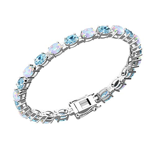 Solid Sterling Silver 6x4mm Oval Cut 9 CTW Sky Blue Topaz and Created Opal Brilliant Sparkle Tennis Bracelet for Women, Box Chain with Safety
