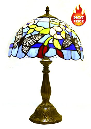 Tiffany Style Table Lamp/ Desk Lamp/ Wilsons Lighting/ NAPLES Series/ Home & Office Decor Collection/ 18.5 Inches Height/ Model (Butterfly Bronze Table Lamp)