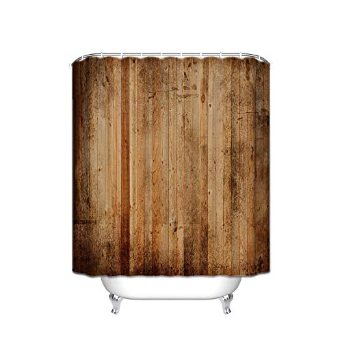 (ALDECOR Rustic Wood Stripes Wallpaper Shower Curtains, Polyester Fabric Waterproof Shower Curtain, Bathroom Accessory Sets, Hooks Included, 54-Inch-by-78-Inch)