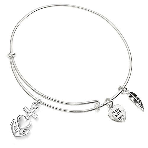 al Armor Cross With Heart Nautical Anchor Ani-Silver Expandible Wire Bangle Bracelet (Heart Anchor)