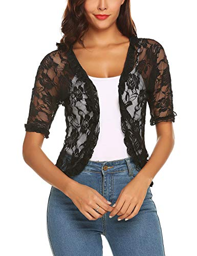URRU Women's Casual 1/2 Sleeve Lace Open Front Cardigan Black XL