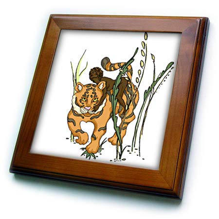 (3dRose Warya - People. - Girl with Tiger in Jungle - 8x8 Framed Tile (ft_299926_1))