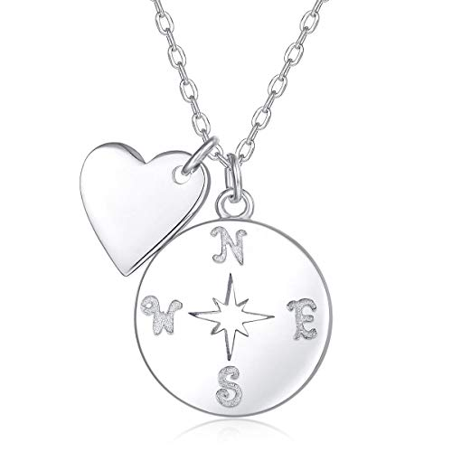 - Blingfox Womens 925 Sterling Silver Pendant Necklace for Sister Friend Mother (Compass Disc Necklace -45cm)
