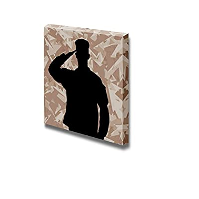 Saluting Soldier's Silhouette on a Desert Army Camouflage Background Vector - Canvas Art Wall Art - 24