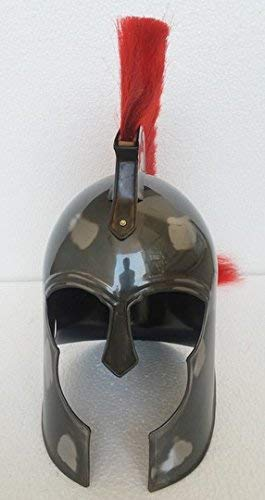 HANDMADE VINTAGE ART 300 King Leonidas Spartan Helmet Warrior Costume Medieval Helmet Liner SCA with Red PlumeReplica ()
