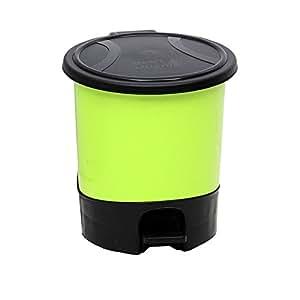 hflove trash can plastic kitchen bathroom office trash can with lid 5 5l green. Black Bedroom Furniture Sets. Home Design Ideas