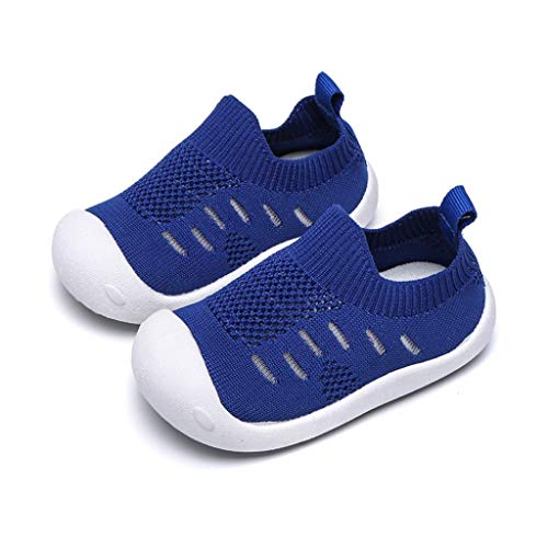 Haalife◕‿¿Kid's Casual Knit Shoes Athletic Walking Shoes Lightweight Mesh-Comfortable Slip on Sneakers Blue