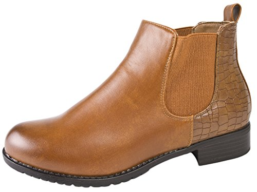 Lora Dora Womens Flat Chelsea Ankle Boots Camel