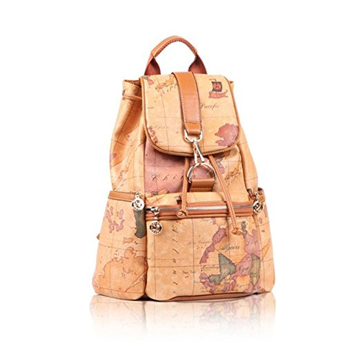 Faux Leather Vintage Novelty World Map Backpack Travel Lacing Bag Hot