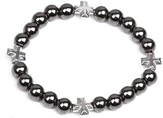 SHOUZ Braccialetto Bracciale con Perline di Pietra calcarea Magnetica Nera da 8 mm