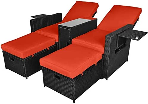 5PCS Outdoor Wicker Chaise Lounge Chair