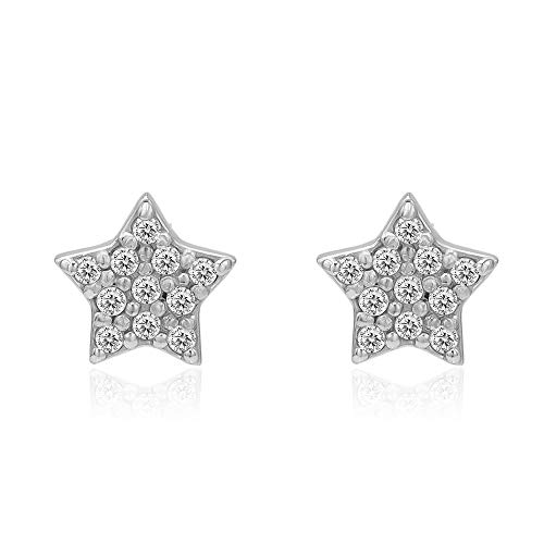 River Island Sterling Silver Star Shape 7mm Cubic Zirconia Stud Earrings (Sterling Silver Star Shape)