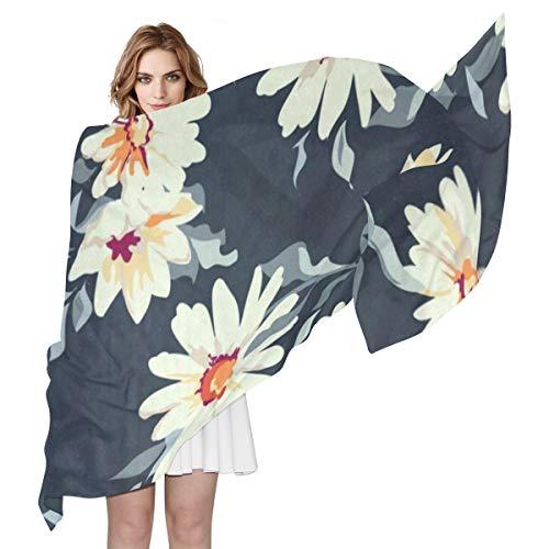 Scarf Watercolor Daisy Ladies Thin Shawl Wrap Girls Chiffon -
