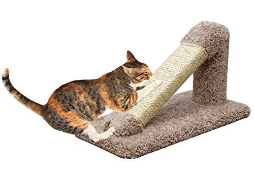 CozyCatFurniture Incline Cat Scratcher, Made in USA, Solid Wood Cat Scratching Post, Unoiled Sisal Rope and Thick Carpet, Brown Color