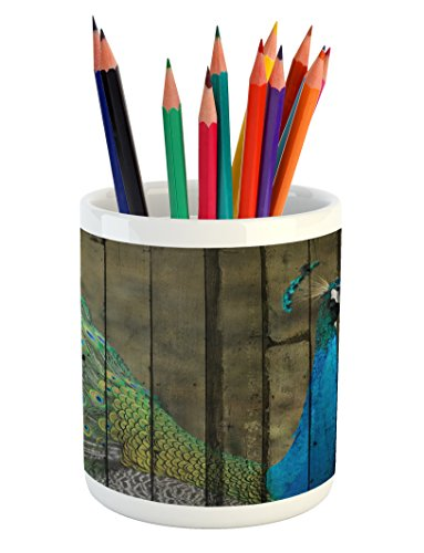 Lunarable Peacock Pencil Pen Holder, Peacock Mural on the Wall Royal Mythological Animal Represents Patience Art, Printed Ceramic Pencil Pen Holder for Desk Office Accessory, Brown Green Teal
