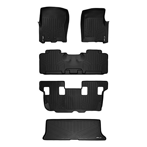 SMARTLINER Floor Mats Cargo Liner Behind 3rd Row Set Black for 2011-2017 Expedition/Navigator With 2nd Row Bench Seat Or Console (No EL or L Models) ()