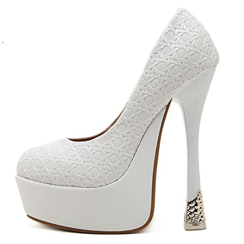 Blanc de Nuit Stylet Forme Sexy Femmes Plate Chaussures Boîte NVXIE Fête Haute WHITE EUR37UK455 Talon Tribunal Mariage Travail Noir Robe qaXxPRxwT