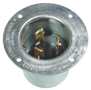 50AMP 250/600V 3P4W Twist-LockNon-Keyed Blade Metallic Flanged Inlet