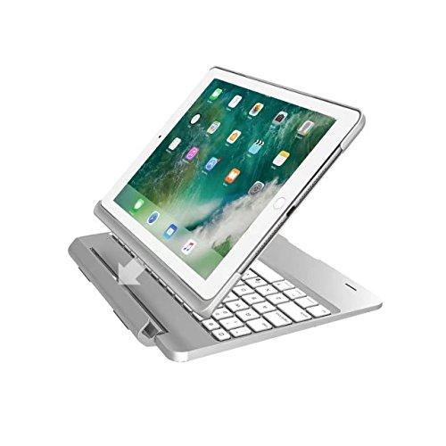 FuriGer Keyboard Case for iPad Air, Bluetooth 7 Colors Adjustment Backlit Wireless Keyboard Ultrathin, Aluminium, Lightweight and portable Cover with Auto Wake/Sleep - Silver