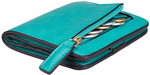 NapaWalli Womens RFID Blocking Small Compact Bifold Luxury Genuine Leather Pocket Wallet Ladies Mini Purse with ID Window (Wax Green) ()