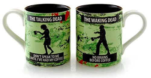 Zombie Coffee Mug Set- Female and Male Talking Walking Zombies His Her Mugs
