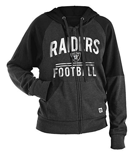 New Era Oakland Raiders Women's Tri-Blend Fleece Zip Up Hooded Sweatshirt Medium