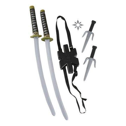 Fun World Unisex-Adult's Ninja Double Sword Set, Multi, Standard -