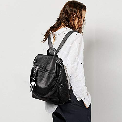 Casual Mochila Escolares Viaje Mujer Moda Cuero Negro Bolsos Tisdaini 7gqO44