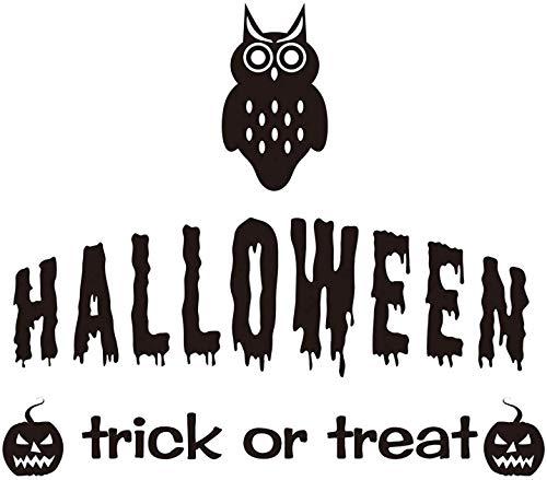 Vinyl Wall Decals - Lettering Halloween Trick Or Treat Dreadful Owl Pumpkins Smile Faces Window Mirror - Stickers Halloween Decorations Kids Rooms Nursery Halloween Party ()
