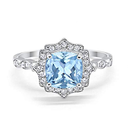 Blue Apple Co. Halo Art Deco Engagement Ring Cushion Simulated Aquamarine Round Cubic Zirconia 925 Sterling Silver, Size-9 ()