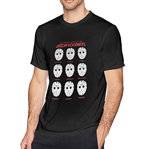Houxiaojun The Many Moods of Jason Voorhees Mask Mens Fashion Tee Black 6XL -