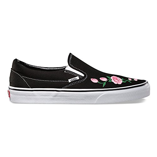 Black Vans Slip On Pink Rose Custom Shoes Embroidery