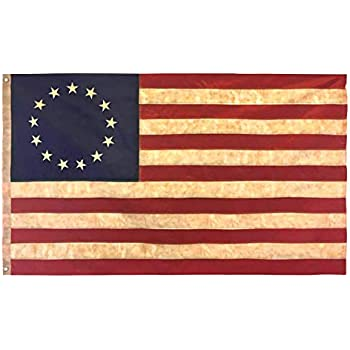 Torn American battle flag 13 Stars 3 feet long