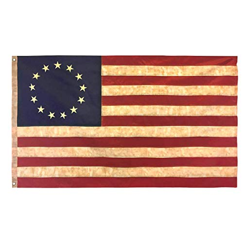 Morigins USA Tea Stained American Flag 3x5 FT Nylon Polyester Embroidered Stars and Sewn Stripes 13 Stars ()