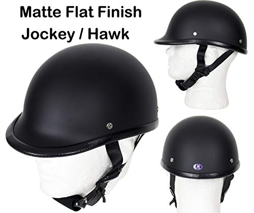 DMD Trading Motorcycle Low Profile Skull Cap Matte Flat Black Jockey/Hawk Novelty Helmet W/Adjustable Chin Strap (XL - (23.4