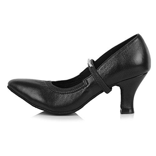 Donna Ballroom HIPPOSEUS da Modello da ballo ballo da ballo Leather Scarpe Nero Scarpe standard latino amp;Strass ITAF305 di sala scarpe 1dqAqw5