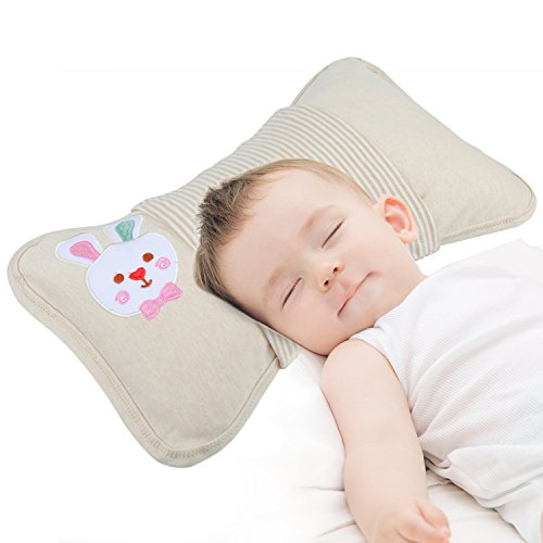 Breathable Soft Newborn Infant Baby Toddler Pillow for Preventing Flat Head Syndrome,   with Organic Cotton Protective Cover by Hopopro