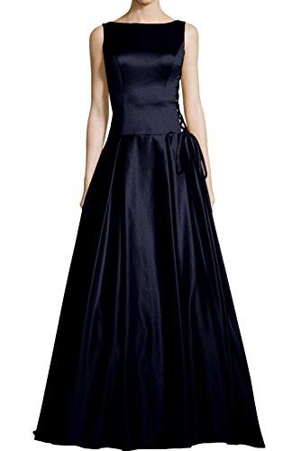 Partykleid Rundkragen Festkleid Linie Rueckenfrei qualitativ A Navy Bodenlang Abendkleid Ballkleid aermellos Ivydressing hoch Satin qwBRfx44