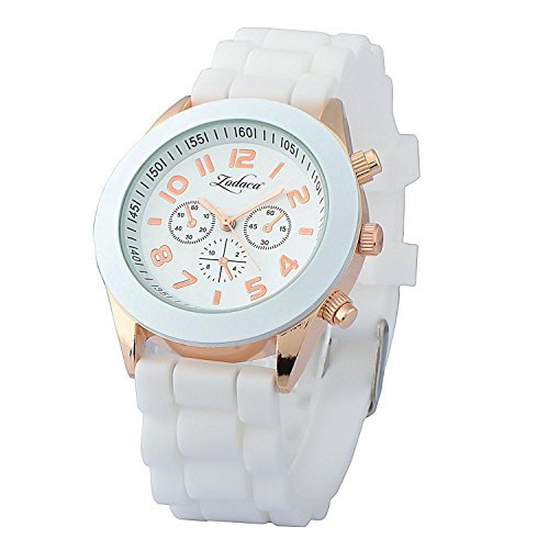 Jelly Sport Wrist Watch (Insten Unisex Fashion Analog Quartz Silicone Jelly Sports Wrist Watch, White)