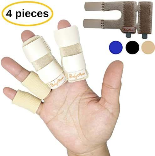 BodyMoves 2 Double Sided Finger Splints Plus 2 Sleeves (Desert Sand)