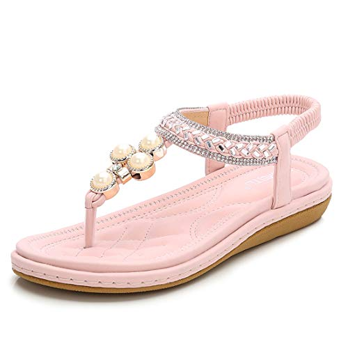 - Women's Flat Sandals Elastic Strappy Casual Sandals for Women Beach Wear Comfort Thong Style in Summer or Holiday - Bright Pink 10 M US