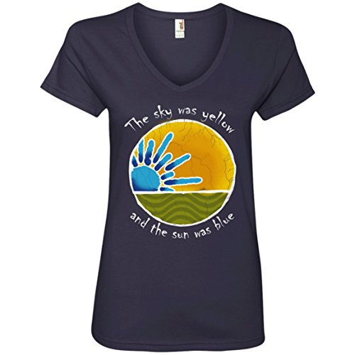 Sky was Yellow Sun was Blue - Scarlet Begonias Inspired Ladies V-Neck T-Shirt ()