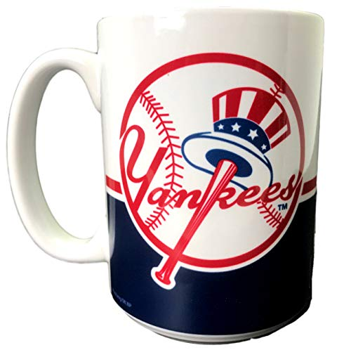 New York Yankees Mug 15oz MLB Baseball Coffee Tea (New York Yankees 3) (Mustang 15 Ounce Mug)