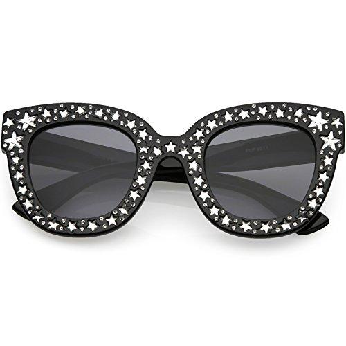sunglassLA - Oversize Star Rhinestones Cat Eye Sunglasses Wide Arms Square Lens 48mm (Black/Smoke)
