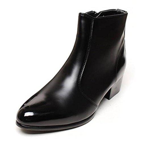 Epicstep Mens Simple Robe Formel Business Casual Faux Cuir Zip Cheville Bottes Chaussures Noir