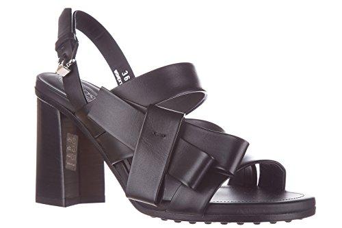 piel en mujer negro sandalias de Tod's tacón nuevo zwgp6xn