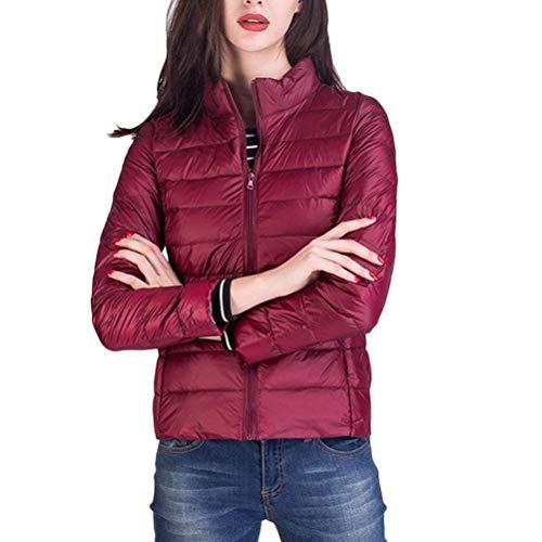 Mujer Corto Abrigos Invierno Unicolor Pluma Manga Larga De Solapa con Cremallera con Bolsillos Outwear Moda Ropa Cómodo Prendas Exteriores Rojo Oscuro