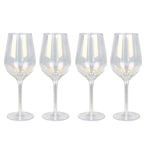 (Top Shelf Decorative Pearl Luster Wine Glass Set with Gift Box, For Red or White Wine, Unique Gift Ideas for Birthdays, Mothers Day, Weddings, and Holidays, Set of 4)