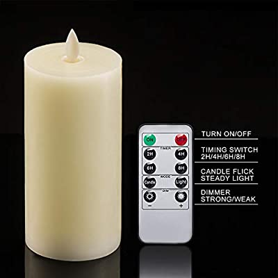 Flameless Candles, Real Wax LED Candle - So Realistic and Safe, D: 3'', H: 6'', Ivory Wax Shell, Dancing Flame, 3 AAA Battery Operated(not Included), with Remote Control, Timer, Dimmer, Flicker Mode: Home & Kitchen